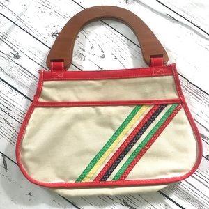 Vintage 1970's rainbow canvas wood handle purse